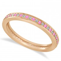 Diamond & Pink Sapphire Eternity Wedding Band 14k Rose Gold (0.28ct)