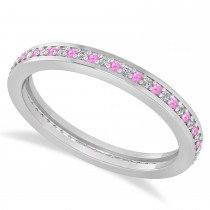 Diamond & Pink Sapphire Eternity Wedding Band 14k White Gold (0.28ct)