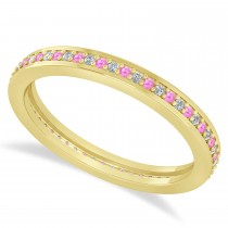 Diamond & Pink Sapphire Eternity Wedding Band 14k Yellow Gold (0.28ct)
