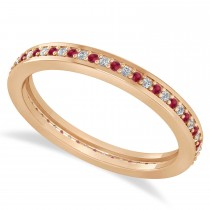 Diamond & Ruby Eternity Wedding Band 14k Rose Gold (0.28ct)