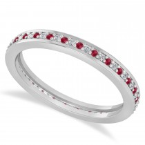 Diamond & Ruby Eternity Wedding Band 14k White Gold (0.28ct)