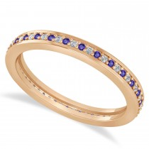 Diamond & Tanzanite Eternity Wedding Band 14k Rose Gold (0.28ct)
