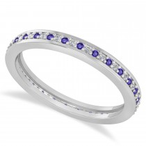 Diamond & Tanzanite Eternity Wedding Band 14k White Gold (0.28ct)