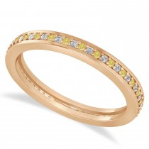 Yellow & White Diamond Eternity Wedding Band 14k Rose Gold (0.28ct)