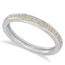Yellow & White Diamond Eternity Wedding Band 14k White Gold (0.28ct)