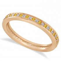 Diamond & Yellow Sapphire Eternity Wedding Band 14k Rose Gold (0.28ct)