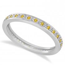 Diamond & Yellow Sapphire Eternity Wedding Band 14k White Gold (0.28ct)