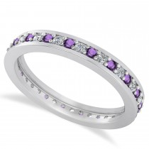 Diamond & Amethyst Eternity Wedding Band 14k White Gold (0.59ct)