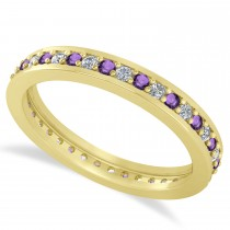 Diamond & Amethyst Eternity Wedding Band 14k Yellow Gold (0.59ct)