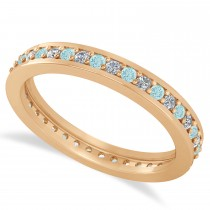 Diamond & Aquamarine Eternity Wedding Band 14k Rose Gold (0.59ct)