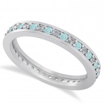 Diamond & Aquamarine Eternity Wedding Band 14k White Gold (0.59ct)