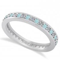 Diamond & Aquamarine Eternity Wedding Band 14k White Gold (0.59ct)