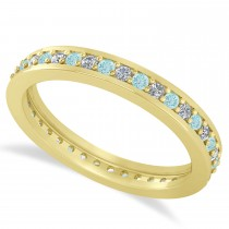 Diamond & Aquamarine Eternity Wedding Band 14k Yellow Gold (0.59ct)