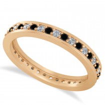 Black & White Diamond Eternity Wedding Band 14k Rose Gold (0.59ct)