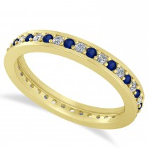 Diamond & Blue Sapphire Eternity Wedding Band 14k Yellow Gold (0.59ct)