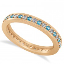 Diamond & Blue Topaz Eternity Wedding Band 14k Rose Gold (0.59ct)