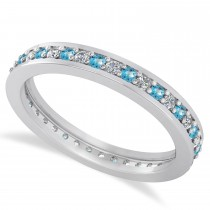 Diamond & Blue Topaz Eternity Wedding Band 14k White Gold (0.59ct)