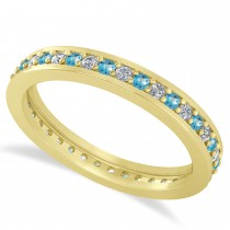 Diamond & Blue Topaz Eternity Wedding Band 14k Yellow Gold (0.59ct)