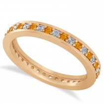 Diamond & Citrine Eternity Wedding Band 14k Rose Gold (0.59ct)