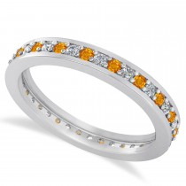 Diamond & Citrine Eternity Wedding Band 14k White Gold (0.59ct)