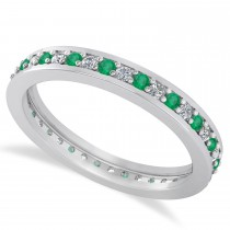 Diamond & Emerald Eternity Wedding Band 14k White Gold (0.59ct)