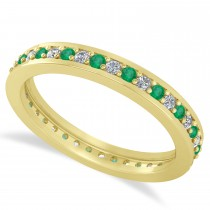 Diamond & Emerald Eternity Wedding Band 14k Yellow Gold (0.59ct)
