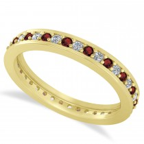 Diamond & Garnet Eternity Wedding Band 14k Yellow Gold (0.59ct)
