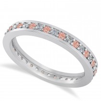 Diamond & Morganite Eternity Wedding Band 14k White Gold (0.59ct)