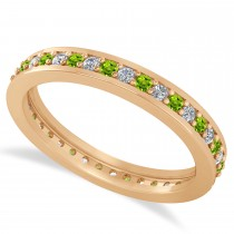 Diamond & Peridot Eternity Wedding Band 14k Rose Gold (0.59ct)