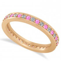 Diamond & Pink Sapphire Eternity Wedding Band 14k Rose Gold (0.59ct)