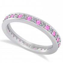 Diamond & Pink Sapphire Eternity Wedding Band 14k White Gold (0.59ct)