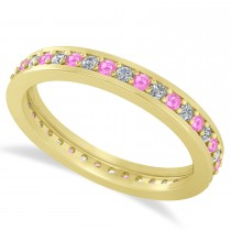 Diamond & Pink Sapphire Eternity Wedding Band 14k Yellow Gold (0.59ct)