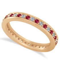 Diamond & Ruby Eternity Wedding Band 14k Rose Gold (0.59ct)