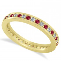 Diamond & Ruby Eternity Wedding Band 14k Yellow Gold (0.59ct)