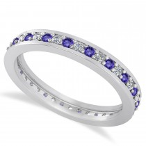 Diamond & Tanzanite Eternity Wedding Band 14k White Gold (0.59ct)