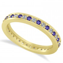 Diamond & Tanzanite Eternity Wedding Band 14k Yellow Gold (0.59ct)
