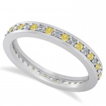 Yellow & White Diamond Eternity Wedding Band 14k White Gold (0.59ct)