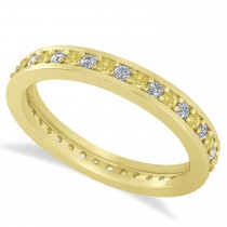Yellow & White Diamond Eternity Wedding Band 14k Yellow Gold (0.59ct)