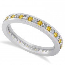 Diamond & Yellow Sapphire Eternity Wedding Band 14k White Gold (0.59ct)