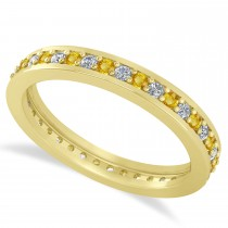 Diamond & Yellow Sapphire Eternity Wedding Band 14k Yellow Gold (0.59ct)