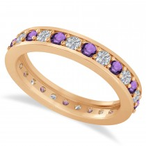 Diamond & Amethyst Eternity Wedding Band 14k Rose Gold (1.08ct)