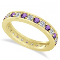 Diamond & Amethyst Eternity Wedding Band 14k Yellow Gold (1.08ct)