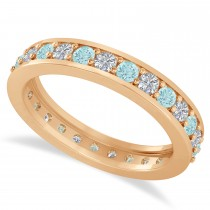Diamond & Aquamarine Eternity Wedding Band 14k Rose Gold (1.08ct)