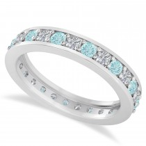 Diamond & Aquamarine Eternity Wedding Band 14k White Gold (1.08ct)