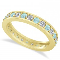 Diamond & Aquamarine Eternity Wedding Band 14k Yellow Gold (1.08ct)