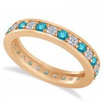 Blue Diamond Eternity Wedding Band 14k Rose Gold (1.08ct)