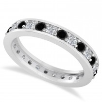 Black & White Diamond Eternity Wedding Band 14k White Gold (1.08ct)