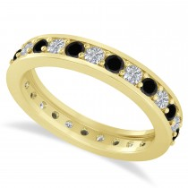 Black & White Diamond Eternity Wedding Band 14k Yellow Gold (1.08ct)