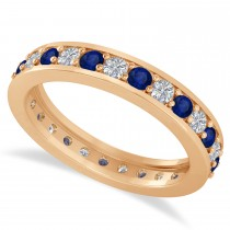 Diamond & Blue Sapphire Eternity Wedding Band 14k Rose Gold (1.08ct)