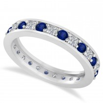Diamond & Blue Sapphire Eternity Wedding Band 14k White Gold (1.08ct)